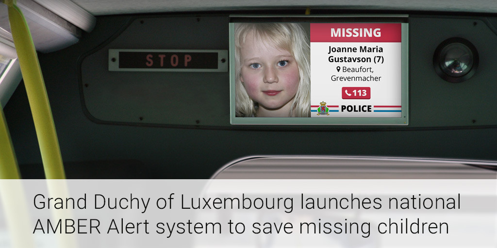20160428 Grand Duchy Of Luxembourg Launches National AMBER Alert System To Save Missing Children